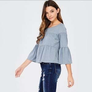 Tops - Tiered Quartered Sleeves Top